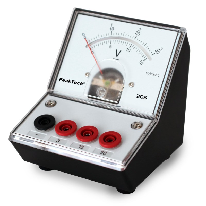 Analoge voltmeter - 0...3V/15V/30V DC