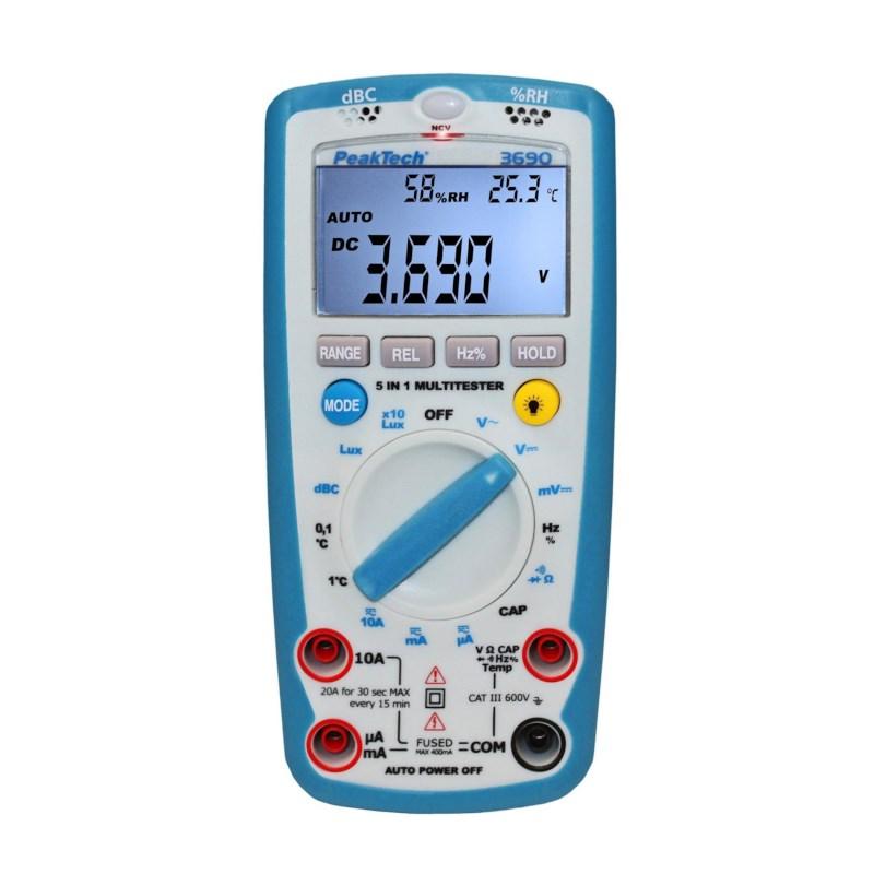 5 in 1 Digitale multimeter 600 V AC/DC, extra functies