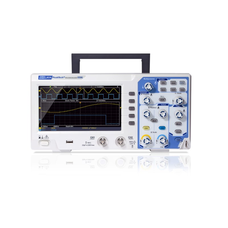 Digitale oscilloscoop 50MHz/2 CH, 500MS/s