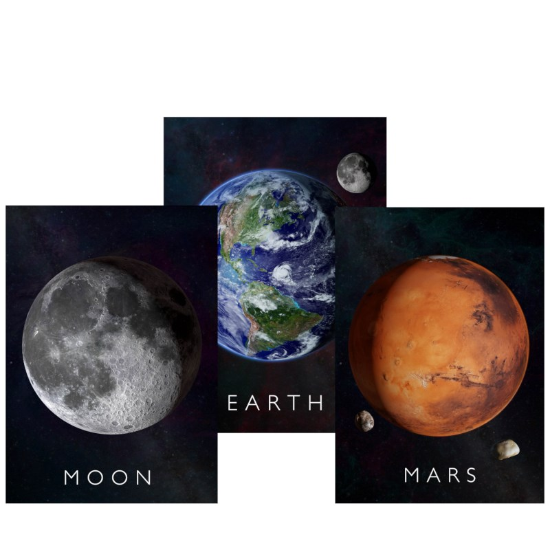 Curiscope Multiverse AR Set posters - Aarde/Maan/Mars